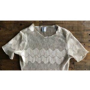 Vintage 90s Y2K mesh zig zag crochet tee 1293